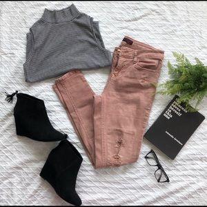 Pants - Blush pink distressed skinny jeans